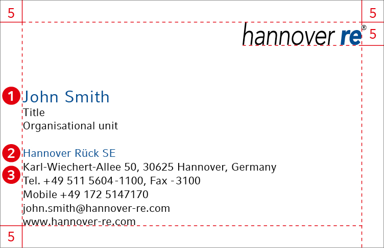 Hannover re group corporate design guidelines business cards dimensions reheart Images